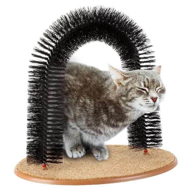 mačka uporablja mačji praskalnik za negovanje